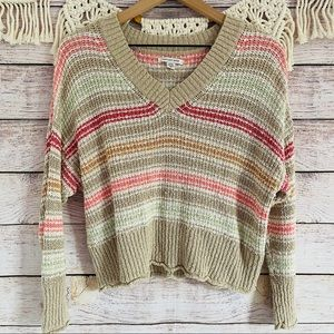American Eagle Long Sleeve V Neck Textured Sweater